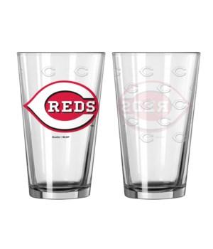 GLASS PINT SET - CIN REDS