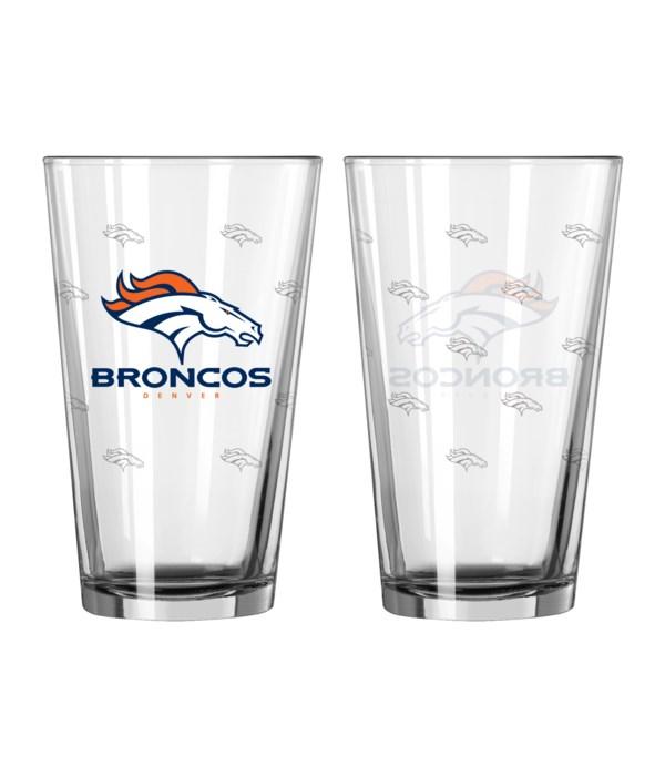 GLASS PINT SET - DEN BRONCOS