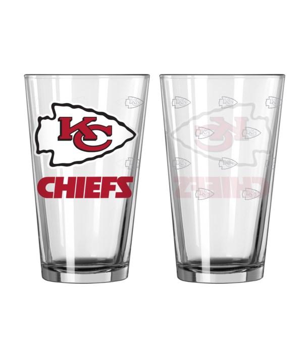 GLASS PINT SET - KC CHIEFS