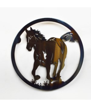 "HORSE AND COLT 10"" Round Trivet"
