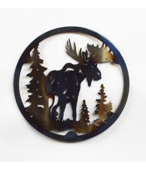 "MOOSE WITH TREES 10"" Round Trivet"