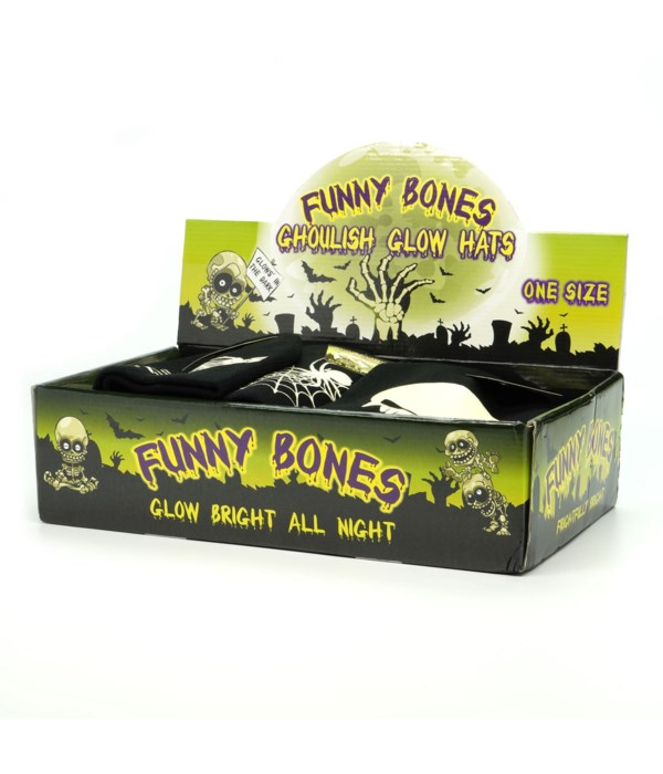 Funny Bones Ghoulish Glow Hats 24PC