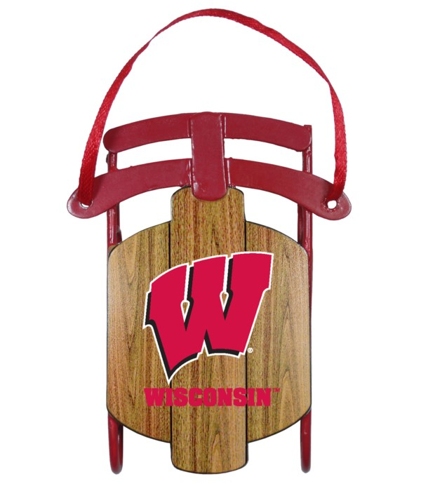 SLED ORNAMENT - WISCONSIN BADGERS