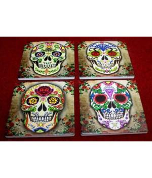 """4"""" Sugar Skull Coasters 4 Asst/12 Sets"""