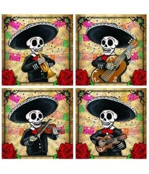 """4"""" Mariachi Coasters 4 Asst/12 Sets"""