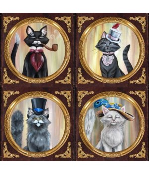 Cat Coasters 4 Assorted/12 Sets