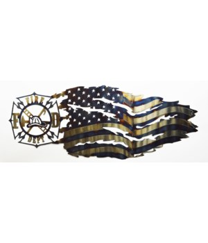 FIREFIGHTER 2 TATTERED FLAG 25""