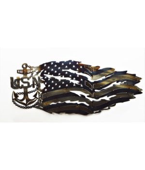 Navy Anchor Tattered Flag 30""