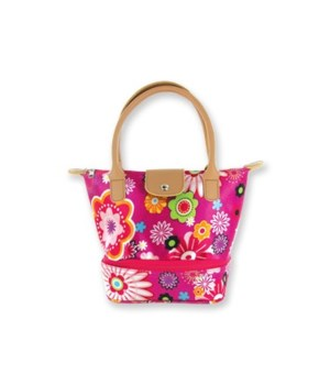 Flowers W/ Pnk Bckg Insulated Lunch Tote