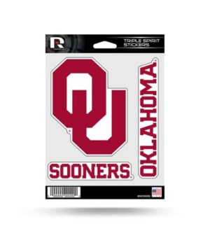 TRIPLE SPIRIT STICKER - OKLAHOMA SOONERS
