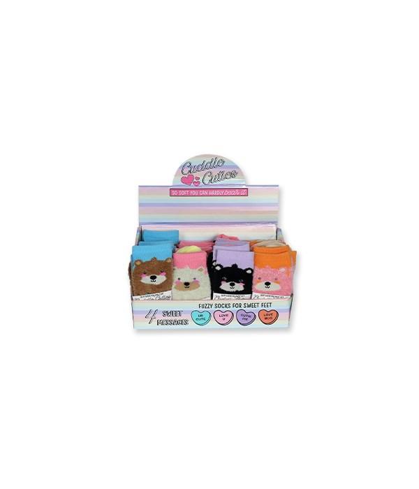 Fuzzy Bear Socks 24PC