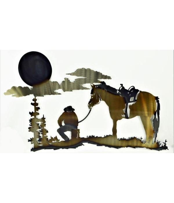 Cowboy @ Sunset Wall Art