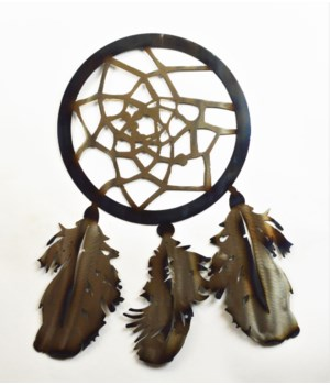 "Dream Catcher with 3 feathers on bottom Wall Art 18"" Wall Art"