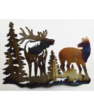 "Bull Elk and Cow Wall Art 18"" Wall Art"