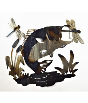 "Bass With Dragon Flies 18"" Wall Art"