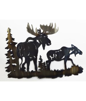 "BULL AND COW MOOSE  18"" Wall Art"