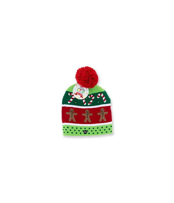 Flashing Knitted Gingerbread Hat 6PC
