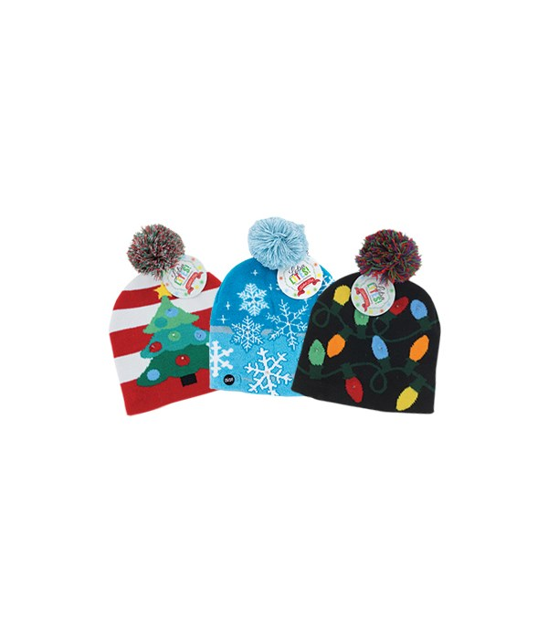 Flashing Holiday Knitted Hat 24PC