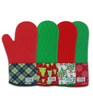 Holiday Silicone Oven Mitts 24PC