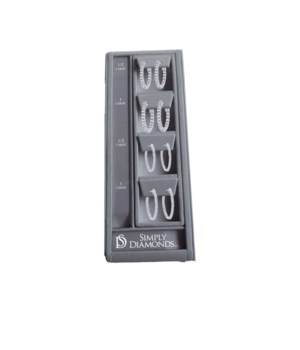 Simply Diamonds 4 HOOP Earring Display - GRAY