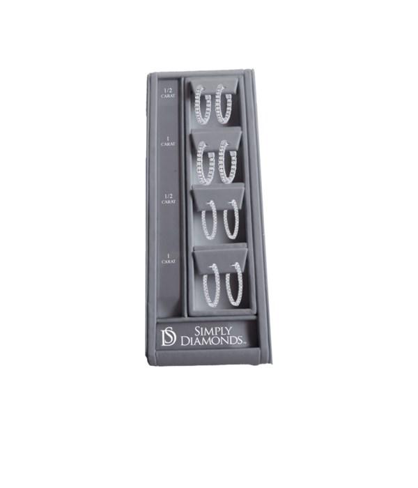 Simply Diamonds 4 HOOP Earring Display - GRAY