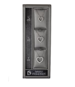 Simply Diamonds 3 Heart Pendant Display - GRAY