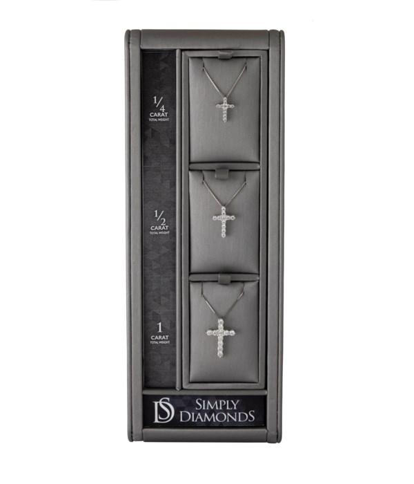 Simply Diamonds 3 Cross Pendant Display - GRAY