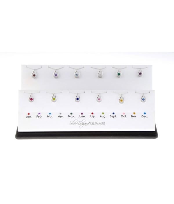 Silver Elegance Glimmer Birthstone Display