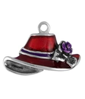 ENAMEL RED HAT WITH PURPLE RIBBON