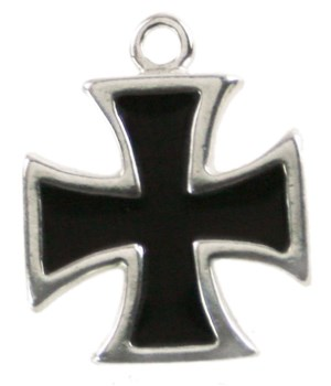 BLACK ENAMEL MALTESE CROSS