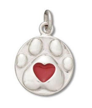 DOG PAW WITH RED ENAMEL HEART