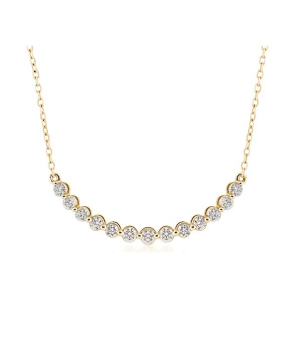 14KY 1/2 CTTW Bar Necklace