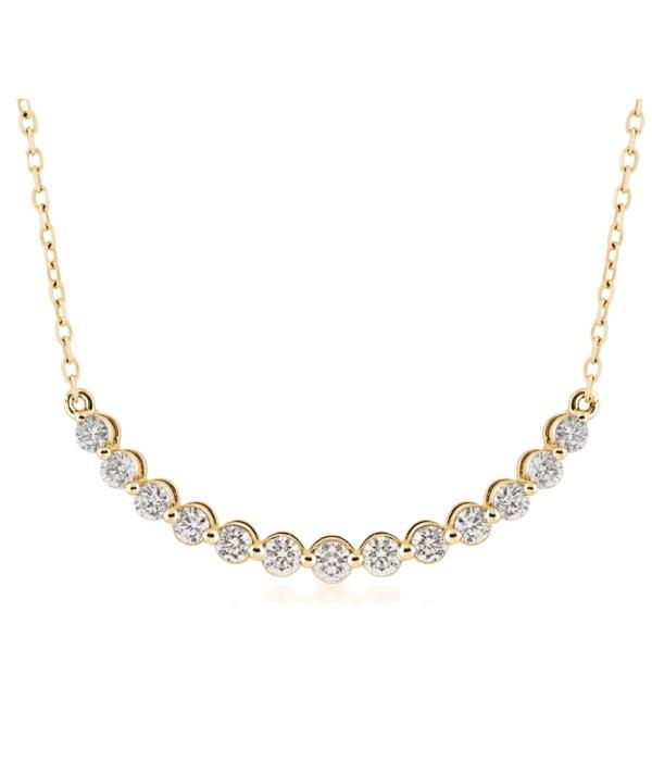 14KY 1 CTTW Bar Necklace