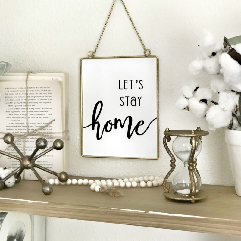Let'S Stay Home Sign With Chain Hanger