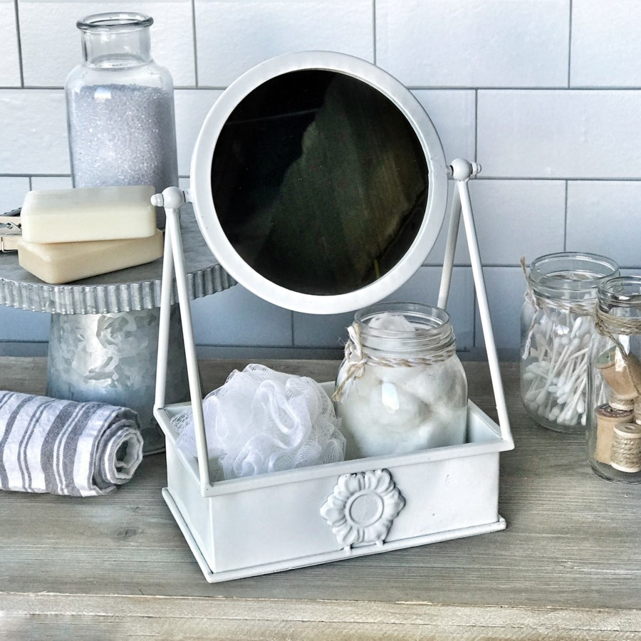 White Table Top Mirror Withtray