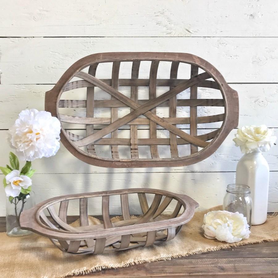 Set Of 2 Oval Tobacco Baskets