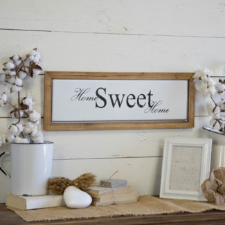 """Wood And Metal Sign """"Home Sweet"""""""
