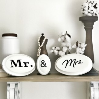 Pressed Metal Mr. & Mrs. Signs