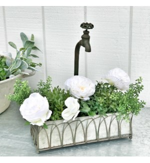 Faux Facet Planter With Galvanized Tray