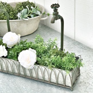 Double Faux Facet Planter With Galvanized Tray
