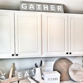 Metal Gather Sign On Natural Wood