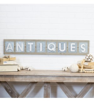 Metal Antiques Sign On Natural Wood