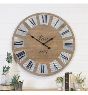 "32"" Antique Wood Wall Clock With Galvanized Numbers"
