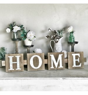 Galvanized Home Sign On Wood
