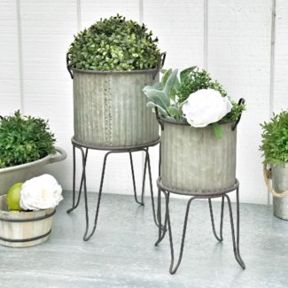 Corrugated Galvanized Metal Planter Buckets On Stand