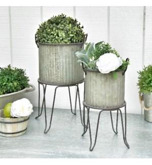 Corrugated Galvanized Metal Planter Buckets On Stand