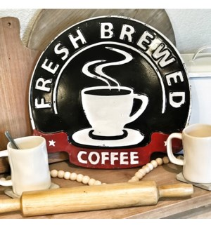 Embossed Metal Coffee Sign