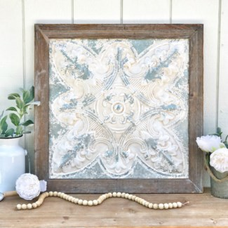 Weathered Decorative Ceiling Tile With Wood Frame