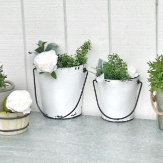 Set Of 2 White Metal Wall Planter Buckets