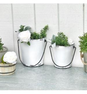 Set Of 2 White Metal Wall Planter Buckets